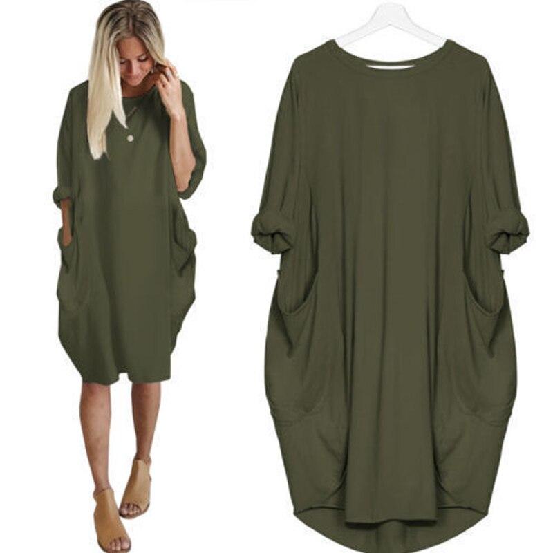 Été automne décontracté manches longues robe ample grande taille O cou couleur unie poches robe de soirée plage femme vêtements XXXL 4XL 5XL