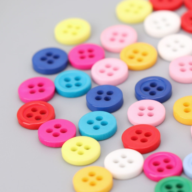 100Pcs 4 Holes Mixed Color Round Resin Buttons Fit For Sewing And Scrapbook 9mm E65D