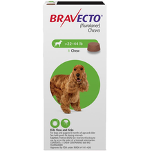 Bravecto Chews for Dogs, 22-44 lbs(10-20kg), 1 treatment (Green Box)