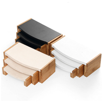 3 Pc/Set Bamboo Velvet/PU Leather Pendant Necklace Display Stand Bracelet Rings Earings Jewelry Display Organizer Rack