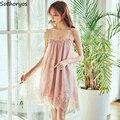 Nachthemden Frauen Sleeveless Patchwork Spitze Plus Größe 4XL Lose Mode Sexy Koreanische Art-Frauen Sommer Chic Süße Nachtwäsche Hause