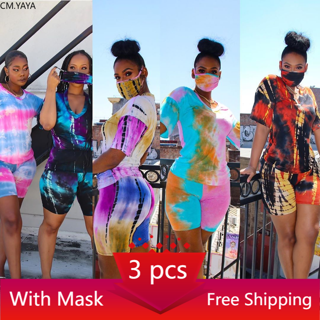 CM.YAYA Women Print 3 Pieces Sets Tracksuits Short Sleeve T-shirt Shorts 3 pcs Suit Night Fitness Sporty Outfits G6086 1
