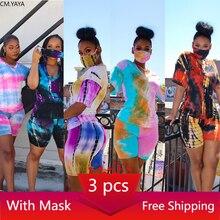 CM.YAYA kobiety drukuj 3 sztuk zestawy dresy z krótkim rękawem T-shirt spodenki 3 sztuk garnitur noc Fitness sportowe stroje G6086