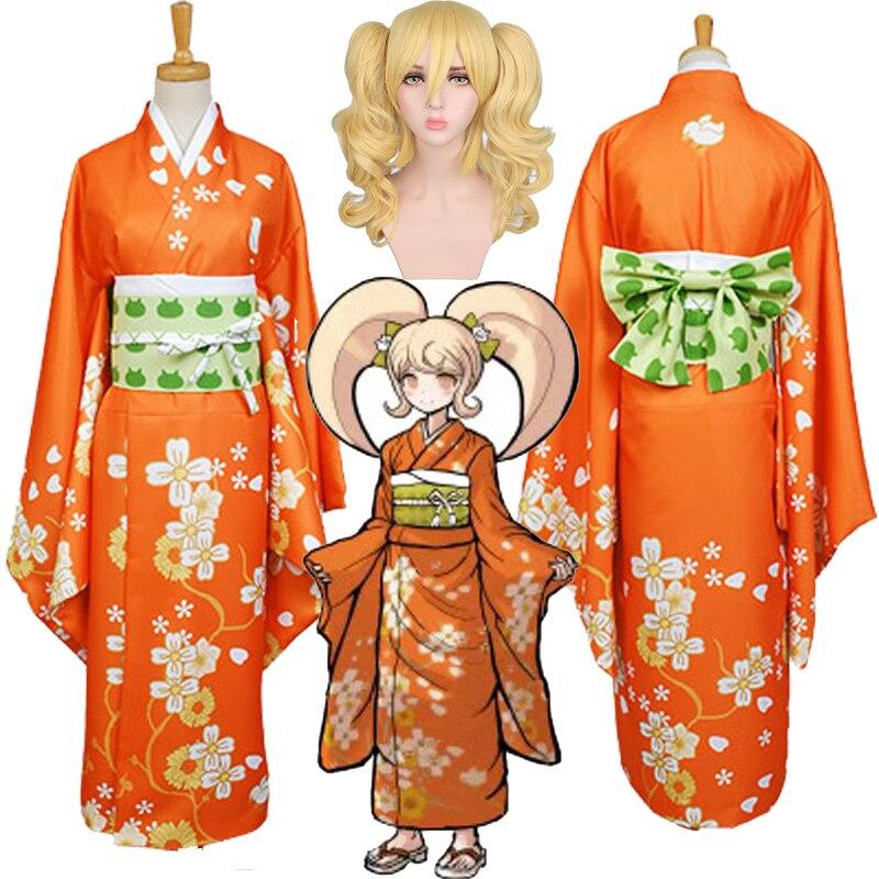 Super Danganronpa 2 Cosplay Costumes Hiyoko Saionji Kimono Costume Halloween Carnival Costumes Women Girls Fancy Dress Kimono