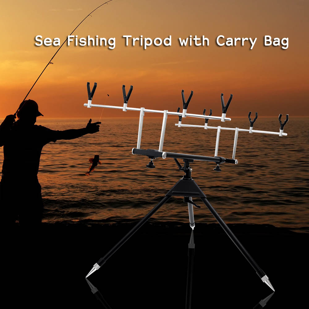 Aluminum Alloy Telescopic Adjustable Sea Fishing Tripod Holder Stand Bracket For 4 Fishing Rod With Carry Bag