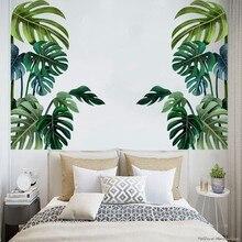 Planta verde adesivo de parede diy rosa peônia flores tropical praia palmeira folhas adesivos de parede arte moderna vinil decalque da parede mural