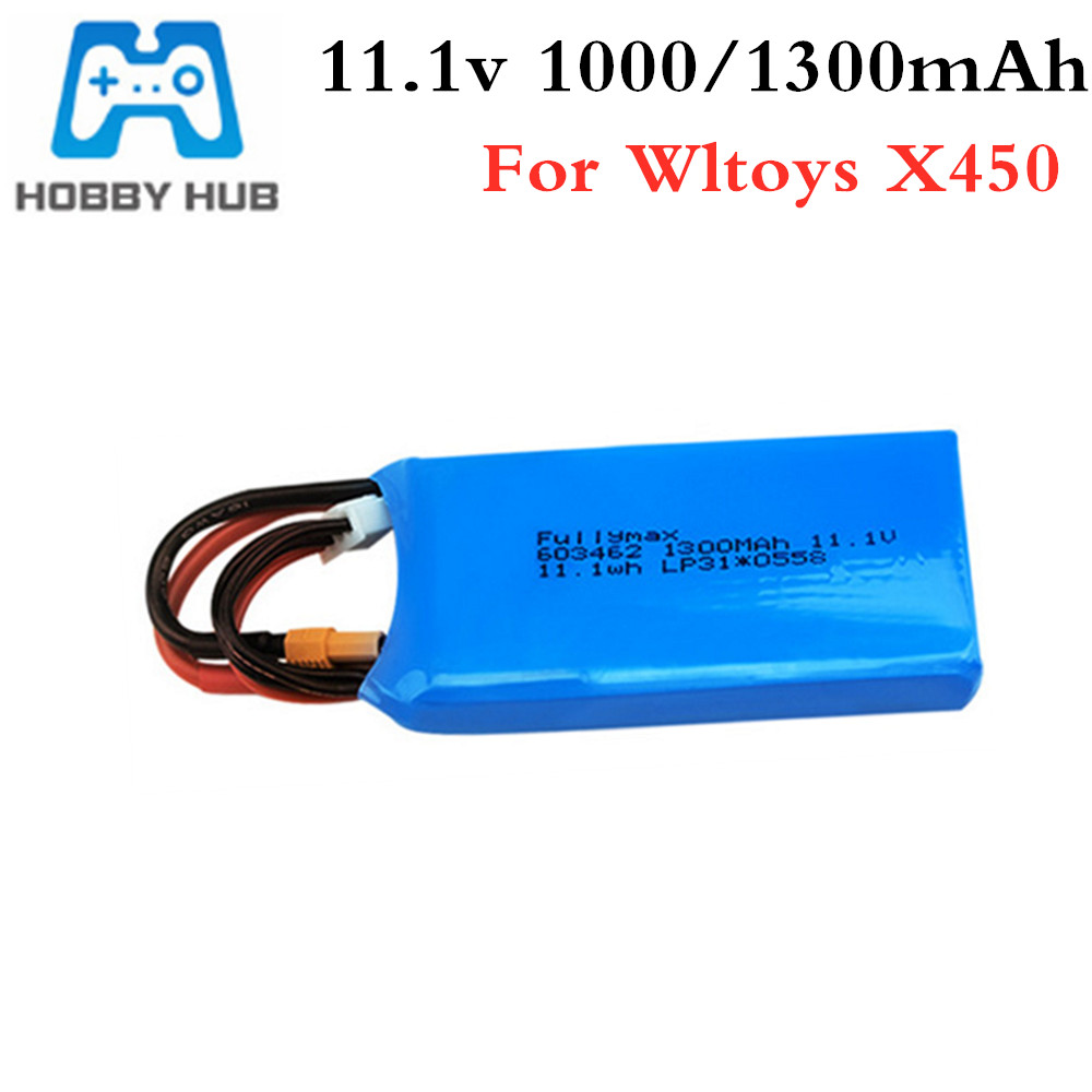 3S 11.1v 1000mAh 1300mAh Lipo Battery For XK X450 FPV RC Drone Spare Parts 11.1 V Rechargeable Lipo Battery XT30