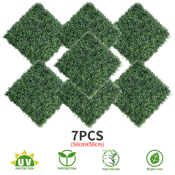 """7PCS 20""""x20"""" Artificial Boxwood Panels Topiary Hedge Plant, Privacy Hedge Screen UV Protected Suitable for Outdoor, Indoor, Gard"""