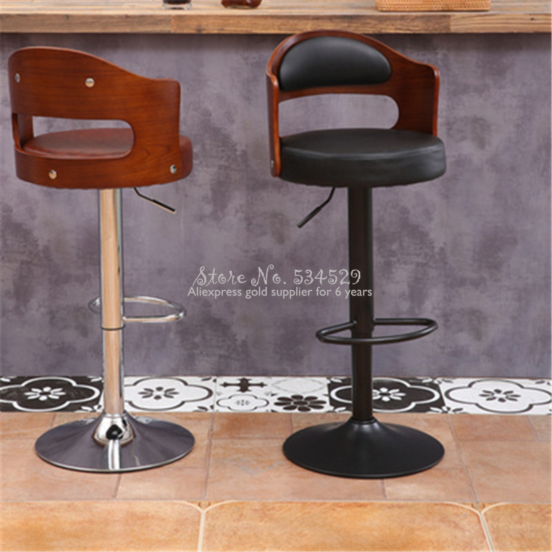 21%New European Bar Stool Solid Wood Bar Stool Home Retro Back Lift Rotary High Stool Front Desk Cashier Bar Chair