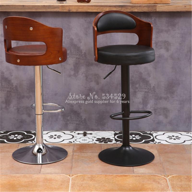 21%New European Bar Stool Solid Wood Bar Stool Home Retro Back Lift Rotary High Stool Front Desk Cashier Bar Chair