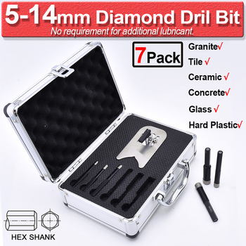 цена на 7Pack Dry Hole Saw Diamond Drill Bit For Tile Ceramic Porcelain Stone Marble Granite Glass 6-20mm Diamond Drill Bit Tools