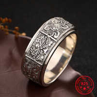 925 Sterling Sliver Retro Men Women Ring Buddhism Eight Auspicious Thai Silver Personality Can Rotate Ring Jewelry