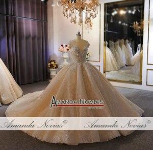 Image 2 - فستان زفاف فاخر ثقيل مطرز بالخرز الشمبانيا دبي فستان الزفاف 2020 صورة عمل حقيقية