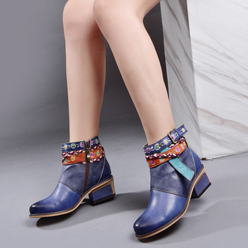 2019 Solid Color Genuine Leather Coarse With Boots Woman Printing Single Boots