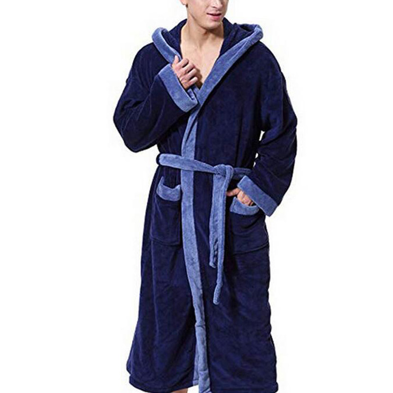 Men's Robes Casual Bathrobe Sleepwear Night-gown Large Size Loose Fit Pockets Thick Winter Male Nightwear