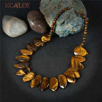 Kcaloe tiger eye colar feminino acessórios do vintage grande natural pedra waterdrop design gargantilhas colares 2017 maxi colar