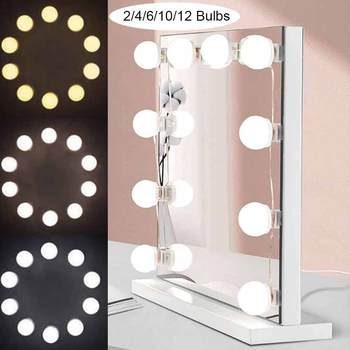 3 Colors LED Makeup Mirror Light Bulb Hollywood Vanity Lights Dimmable Wall Mirror Lamp 2,4,6,10,12 Bulbs Kit for Dressing Room 1