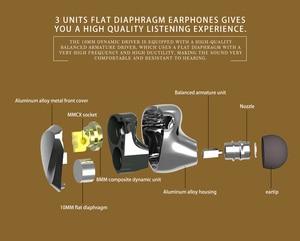 Image 4 - TRI I3 diaphragme plat + Composite 8MM pilote dynamique + Armature équilibrée pilote hybride dans loreille écouteur HIFI DJ métal écouteurs