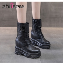 Fashion Top Cowhide Leather Shoes Autumn Martin Boots Platform Internal Increase High Heeled Boots In-tube Boot Women Boots 10CM