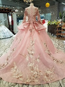 Image 2 - BGW 2020 Pink Special Dubai Puffy Party Dresses High Neck Long Tulle Sleeve Lace Up Back Evening Dresses Muslim Styles