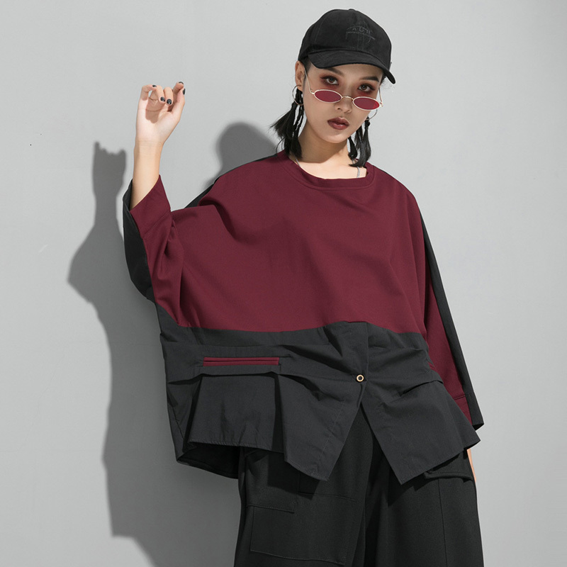 [EAM] Loose Fit Contrast Color Oversized Sweatshirt New Round Neck Long Sleeve Women Big Size Fashion Spring Autumn 2020 1D716 5