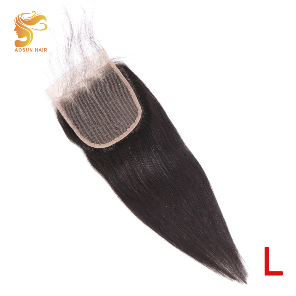 AOSUN HAIR Peruvian Straight Human Hair 4x4 Lace Closure Three Part Pre Plucked Bleached Knots 8-20inches Remy With Baby Hair
