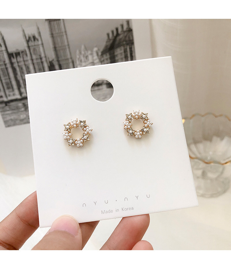 Korean fashion small fresh earrings women fashion geometric circle zircon pearl pendant S925 silver needle simple ear jewelry in Drop Earrings from Jewelry Accessories