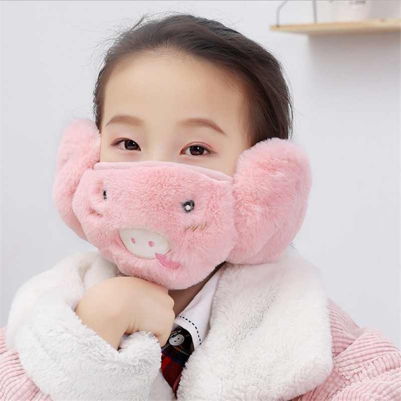 Winter Children Windproof Mask Baby Cartoon Plush Mask Earmuffs Two In One Boys Girls Multifunction Practical Warm Cotton Masks