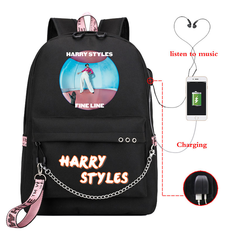 Mochila Harry Styles Backpack Women School Bags For Teenage Girls Usb Charge Pink Backpack Zainetto Donna Laptop Backpack Kids