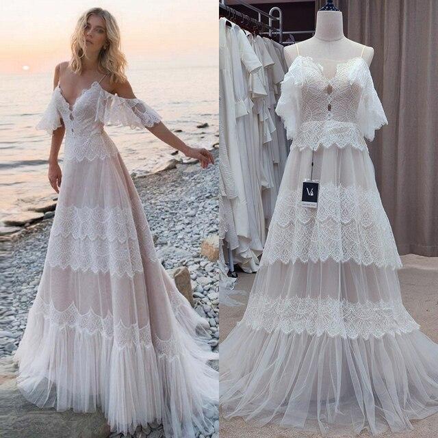 Spaghetti Straps Backless Bohemian Boho Beach Wedding Dresses Nude Champagne Off the Shoulder Bridal Dresses vestidos de renda 1