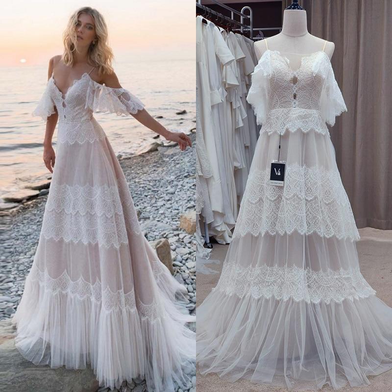 Spaghetti Straps Bohemian Boho Beach Wedding Dresses Nude Champagne Off The Shoulder Bridal Dresses Vestidos De Renda