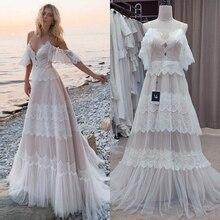Vestidos de novia con tirantes finos bohemios para la playa color champán sin hombros vestidos de novia vestidos de renda