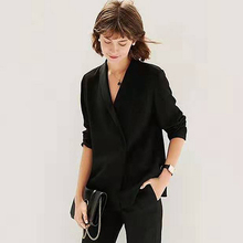 Silk Blouse Office-Tops Formal-Shirt Long-Sleeves Elegant-Style New-Fashion V-Neck Solid