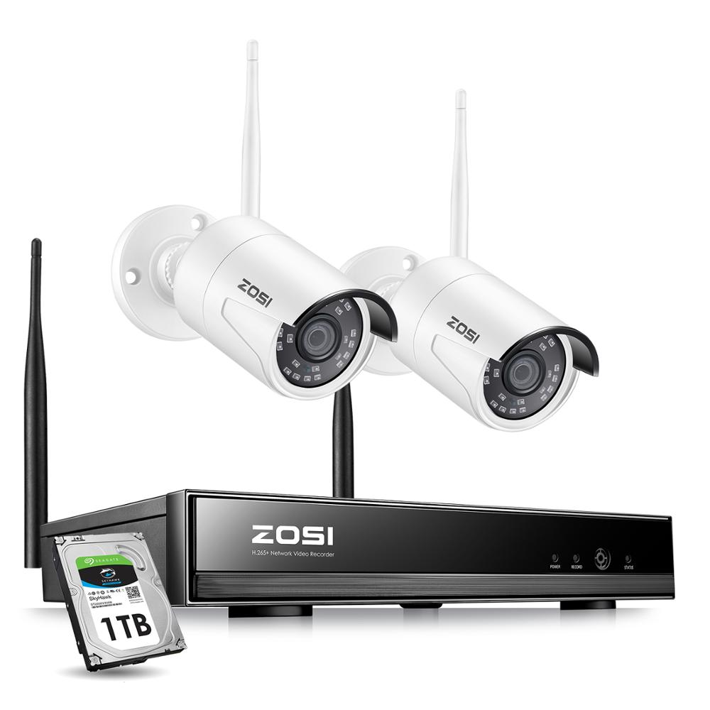 ZOSI Wireless Security Cameras SystemH 265  8CH 1080P HD Network IP NVR and 2pcs 2 0MP HD Wireless Outdoor IP Surveillance Cam