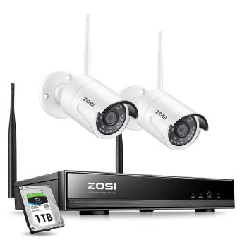 ZOSI Wireless Security Cameras System,H.265+ 8CH 1080P HD Network IP NVR and 2pcs 2.0MP Outdoor Surveillance Cam - discount item  52% OFF Video Surveillance