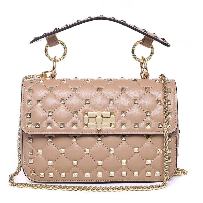 Haute qualité Rivet sac à bandoulière de luxe sacs à main 100% en peau de mouton en cuir sacs à bandoulière 2019 célèbre marque Designer fourre-tout