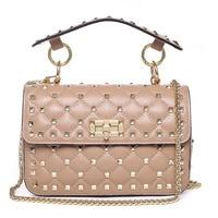 High Quality Rivet Crossbody Bag Luxury Handbags 100% Sheepskin Leather Shoulder Bags 2019 Famous Brand Designer Tote