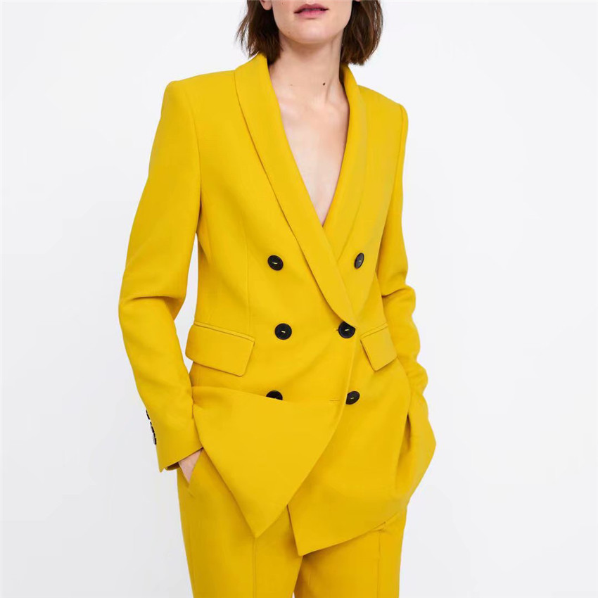 2019 Fashion Women Elegant Notched Collar Yellow Blazers Pockets Double Breasted Outerwear Office Lady Work Wear Chic Tops