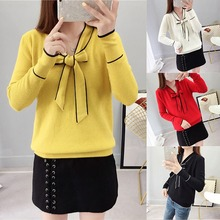 Women Knitwear Spring Summer Solid Color Loose Drawstring Sweater Bow Tie Long Sleeve Sweater недорого