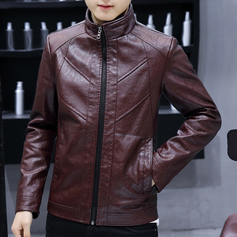 Men Leather Jacket-Style Youth PU Leather Coat Trend Casual Men'S Wear 2018 Autumn New Style Versatile Handsome