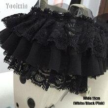 11CM Wide HOT white black pink Embroidery flower lace fabric trim ribbon DIY sewing applique collar dubai guipure dress wedding