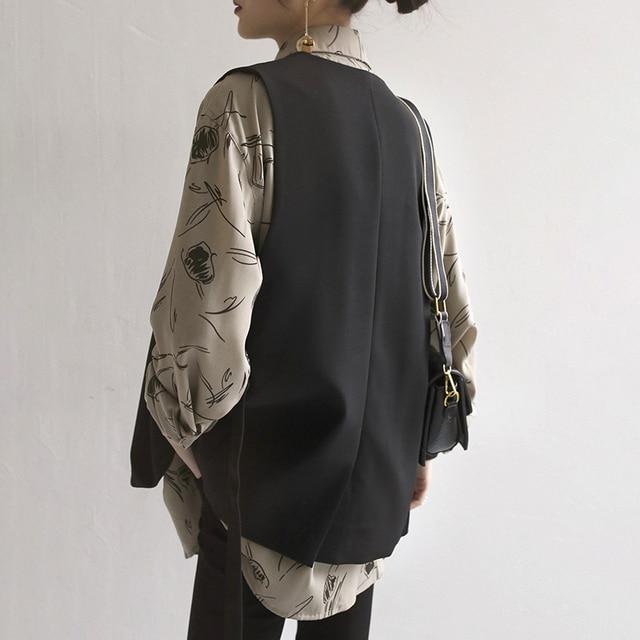 GOPLUS Autumn Vest Women Vintage V-neck Double Breasted Short Loose Vests Womens Chalecos Para Mujer Kamizelka Damska C8261 3