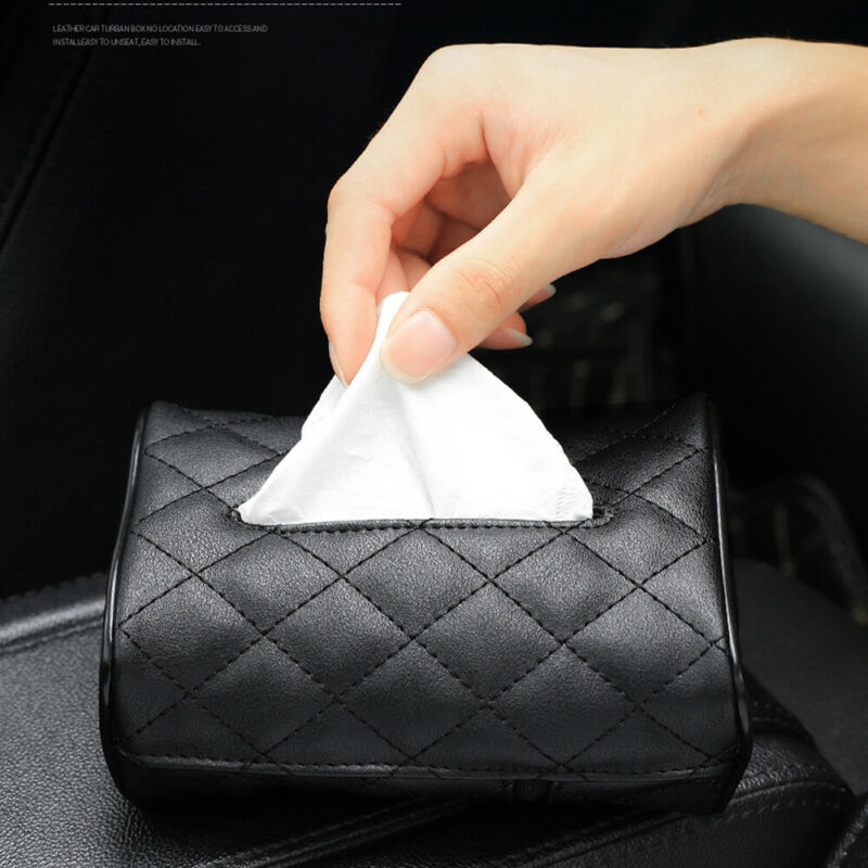 PU Leather Car Tissue Box Towel Napkin Papers Container Holder Universal //Lot