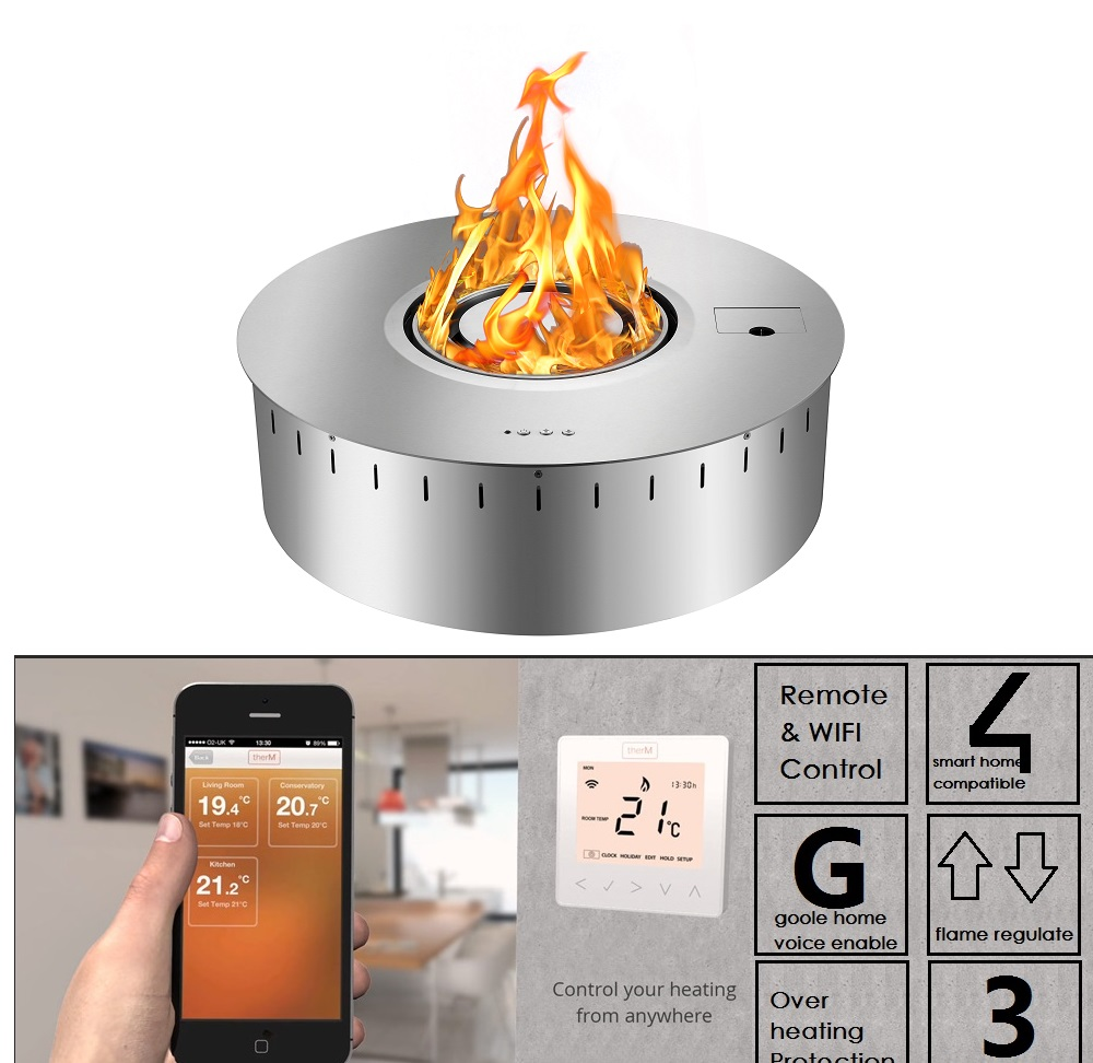 Hot Sale Remote Ethanol Burner Insert Wifi Control Indoor Round Fireplace