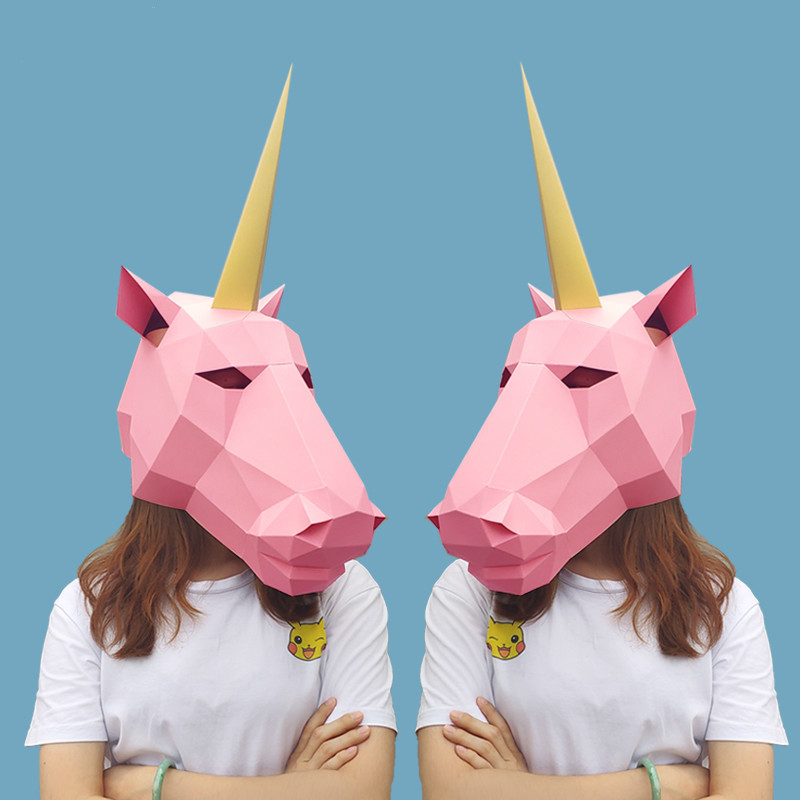3D Paper Model Mask Fashion Unicorn Animal Costume Cosplay DIY Paper Craft Model Mask Christmas Halloween Prom Party Gift