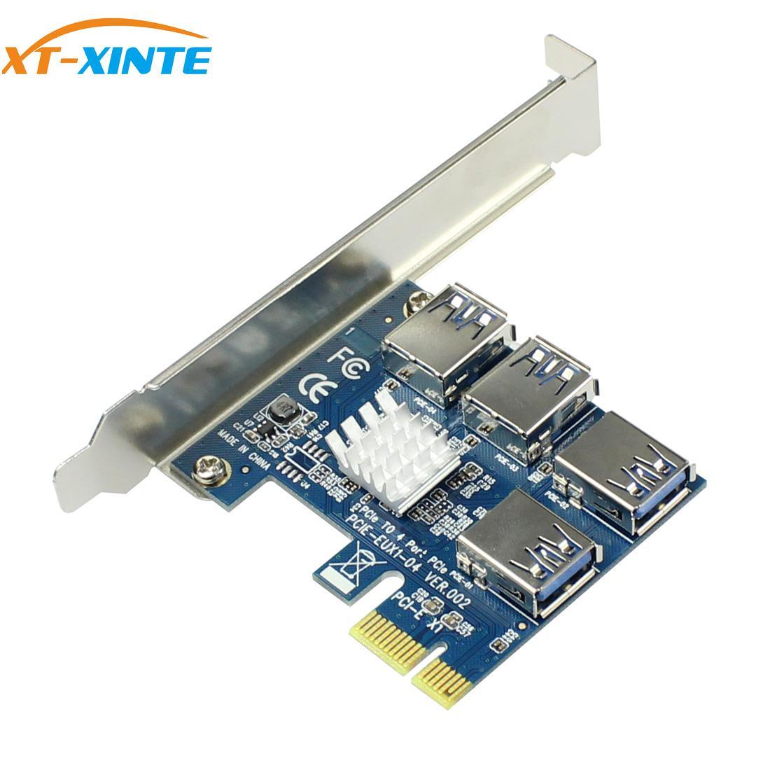 PCIe 1 до 4 PCI-express 16X слоты, Райзер-карта PCI-E 1X к внешнему 4 PCI-e USB 3,0, адаптер, карта-усилитель для майнинга биткоинов