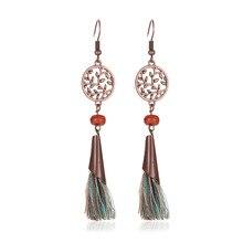 Bohemian Style New Tassel Earrings Retro Hollow Leaf Metal Ethnic Wind Long Copper