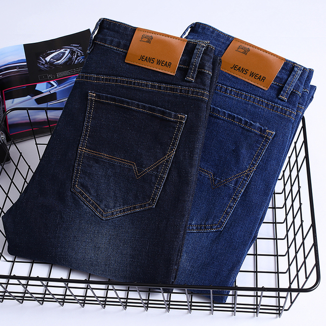 Brand 2020 New Men's Fashion Jeans Business Casual Stretch Slim Jeans Classic Trousers Denim Pants Male Black Blue 6