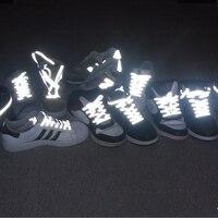 Bricolage chaud 1 paire plat réfléchissant coureur chaussures lacets nouvelle sécurité lumineux brillant lacets femmes hommes Sport toile lacets