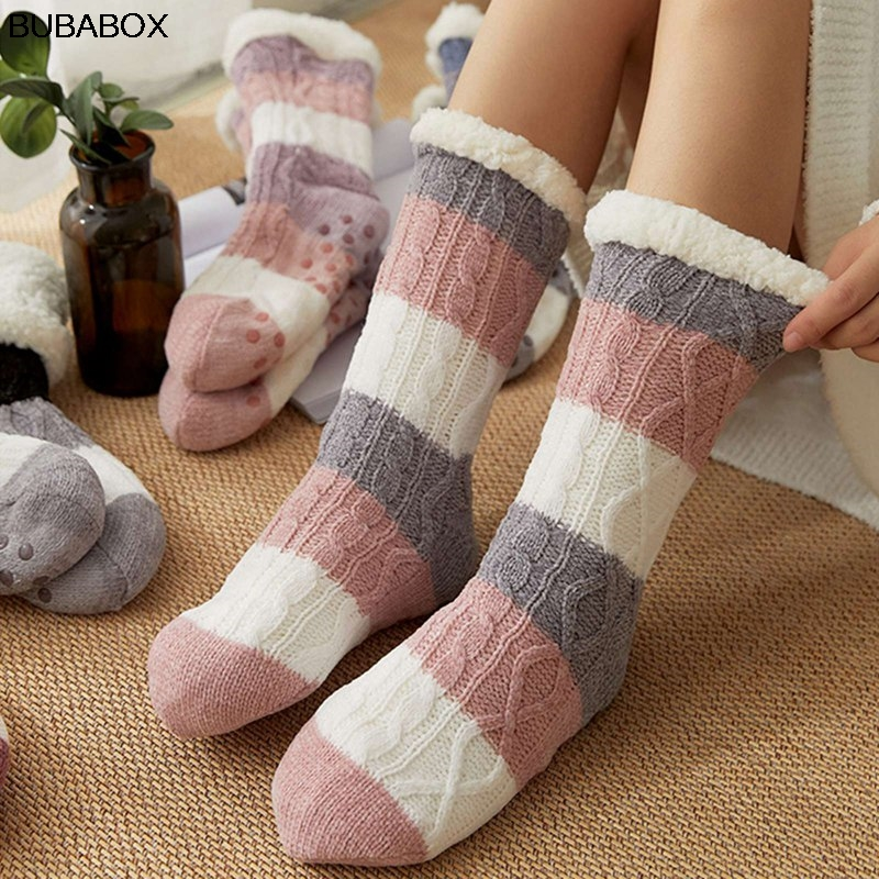 New Cute Ladies Wool Home Month Sock Fall Winter Warm Bed Female Non-Slip Fluffy Coral Fleece Thickening Plus Velvet Socks